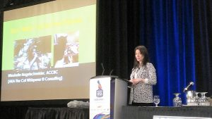 Mieshelle Cat Behaviorist lecturing on cat behavior consulting